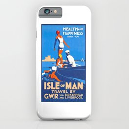 1932 Isle Of Man Health And Happiness Await You Travel Poster iPhone Case