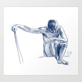 Male Model figure drawing Art Print