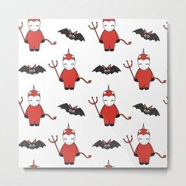 cute cartoon devil unicorns halloween pattern background with bats Metal Print