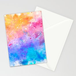 Abstract Watercolor Paint Pattern Texture #7 - Pink, Blue, Yellow Stationery Cards