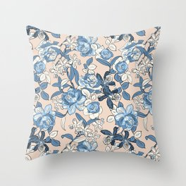 Seaside Floral Throw Pillow