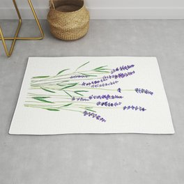 purple lavender watercolor painting Rug