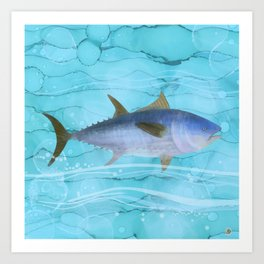 Atlantic Bluefin Tuna Fish - the fisherman's big catch Art Print