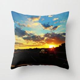 sunset highway Throw Pillow
