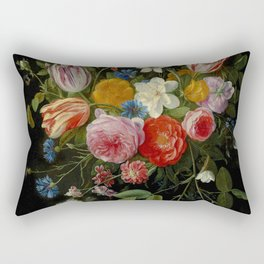"""Jan van Kessel de Oude """"Tulips, peonies, chicory, carnations, cherry blossom and other flowers"""" Rectangular Pillow"""