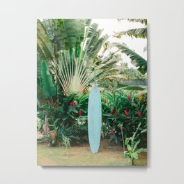 The blue surfboard   Travel photography print   The Dominican Republic Metal Print