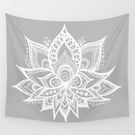 Grey and White Lotus Flower Mandala Wall Tapestry