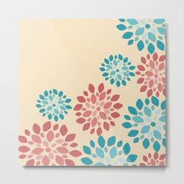 Flower Flurries Beige Metal Print