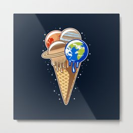 Planet Ice Cream Metal Print