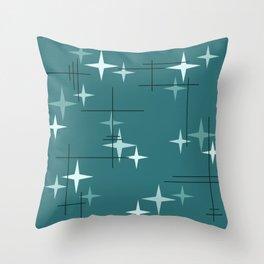 Mid Century Modern Stars (Ocean Green) Throw Pillow