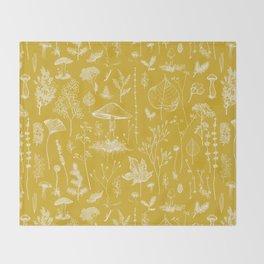 Woodland Walk / Mustard Throw Blanket