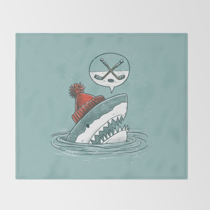 Hockey Shark Throw Blanket