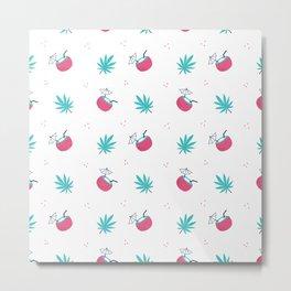 Cute trendy pink teal tropical summer drink floral pattern Metal Print