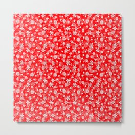 Festive Red and White Christmas Holiday Snowflakes Metal Print