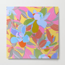 Magnolias on Yellow Metal Print