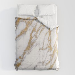 Elegant Creamy White Marble With Luscious Gold Veins Comforters