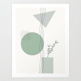 Green Botanical Geometric Print Art Print