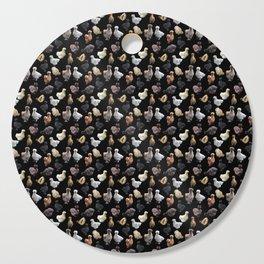 Silkie Bantams on Black Cutting Board
