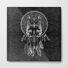 White Owl Dreamcatcher Aztec Pattern Metal Print
