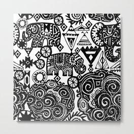 Beautiful boho pattern Indian Elephant with ornamental. Hand drawn ethnic tribal decorated Elephant Metal Print