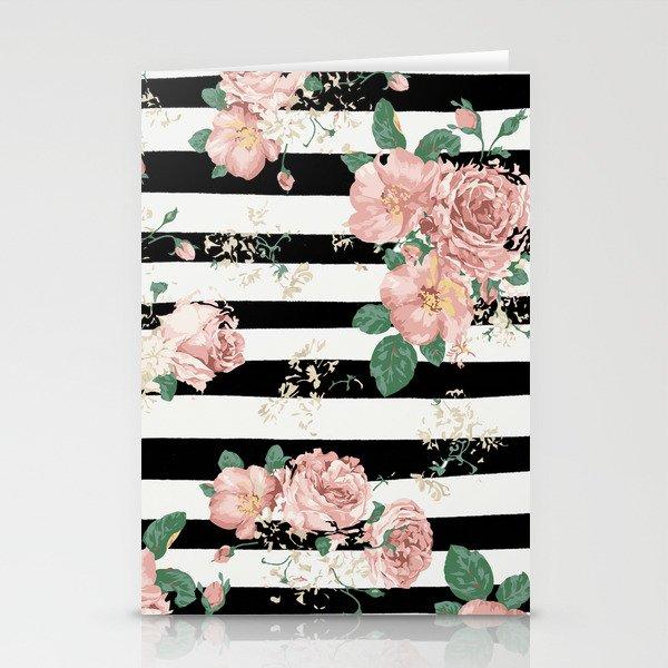 VINTAGE FLORAL ROSES BLACK AND WHITE STRIPES Stationery Cards