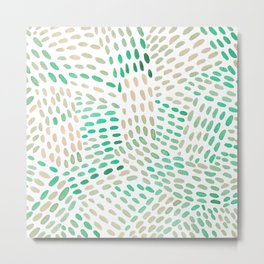 Watercolor dotted lines - mint green and beige Metal Print
