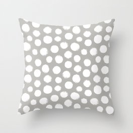 Gray & White Large Polka Dots  Throw Pillow