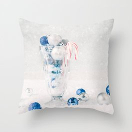 Christmas Ornaments in Soda Glass Throw Pillow
