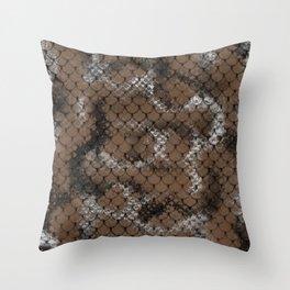 Desert Brown Serpent Snake Scales Pattern Design Throw Pillow