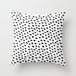 Brush Dot Pattern White Throw Pillow