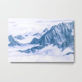 Mountains Embraced by the White Clouds Metal Print