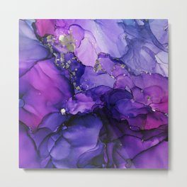 Violet Magenta Chrome - Abstract Ink Metal Print