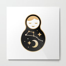 Russian doll matrioshka Babushka smiling Kawaii cute face, Stars, moon, constellation Ursa Major Metal Print