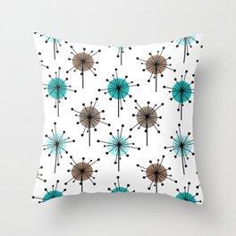 Midcentury Sputnik Starburst Flowers Turquoise Brown Throw Pillow