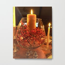 Glass Bowl Candle Decor Metal Print