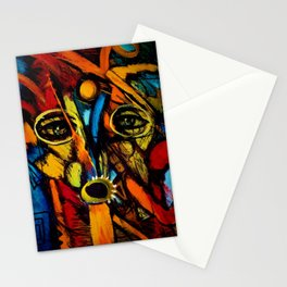 Indigenous Inca Tribesmen in full headdress portrait painting by Ortega Maila Stationery Cards