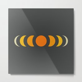 Abstract Minimal Retro Style Moon Phase - Ayano Metal Print