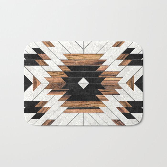 Urban Tribal Pattern No.5 - Aztec - Concrete and Wood Badematte