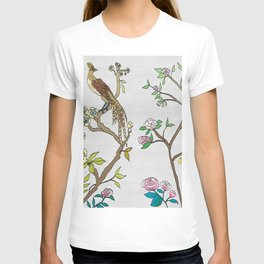 Chinoiserie Panels 4-5 Silver Gray Raw Silk - Casart Scenoiserie Collection T-shirt