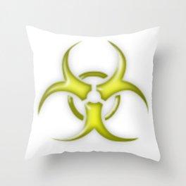Yellow Biological Hazard Symbol Throw Pillow