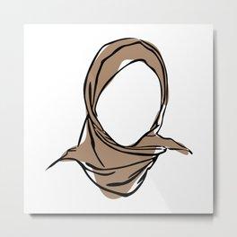 Hijab Woman 01, Single Line Art Colored Set Metal Print