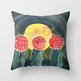 Cactus Moon Grafted Throw Pillow