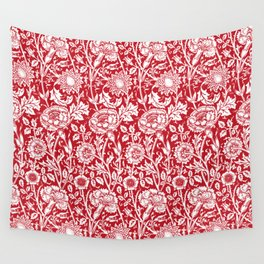 """William Morris Floral Pattern   """"Pink and Rose"""" in Red and White   Vintage Flower Patterns   Wall Tapestry"""