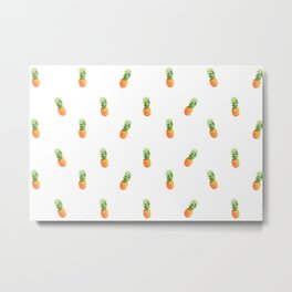 Pineapple, pattern (white version) Metal Print