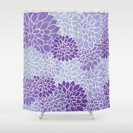 Ultra Violet Lavender Dahlias Shower Curtain