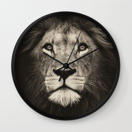 Portrait of a lion king - monochrome photography illustration Wall Clock