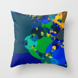 raelyn - abstract design of royal blue kelly green bright sunshine yellow teal Throw Pillow