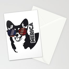 Merica Memorial Day Dog Funny American Flag Stationery Cards