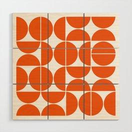 Mid Century Modern Geometric 04 Orange Wood Wall Art