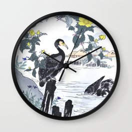 Two Cormorants And Yellow Flowers Near Lake - Antique Japanese Woodblock Print Art - Kono Bairei Wall Clock